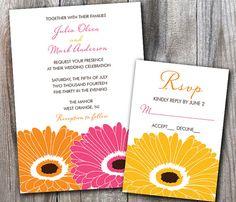 Sweet Gerbera Daisy Wedding Invitation Sample Set by DesignsbyAdj, $3.50
