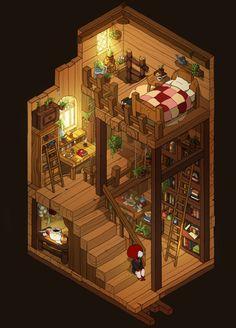 Minecraft Projects, Minecraft Designs, Fantasy House, Fantasy Art, Deco Cool, Cartoon House, Sims House Design, Isometric Art, Building Art