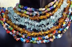 "CHIP BEADS 15 "" length, 4 styles, cognac, aqua, millefori cat's eye Multicolor Catio, Fall 2018, Cat Eye, Aqua, Beaded Necklace, Quartz, Beads, Color, Jewelry"