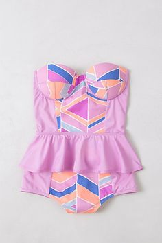 pink retro swimsuit from anthropologie built in bra ruffle
