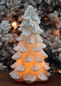 Flameless Pearlized Silver Christmas Tree - 6 Inch