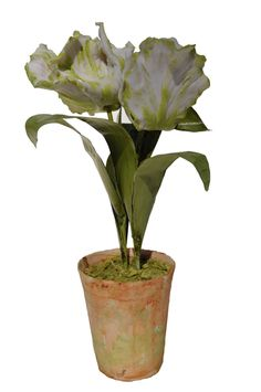 Vieuxtemps Porcelain, Green and White Porcelain Tulip. Porcelain flowers and pot. Stems and Leaves Tole