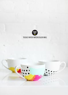 DIY Tissue Paper Watercolor Mug