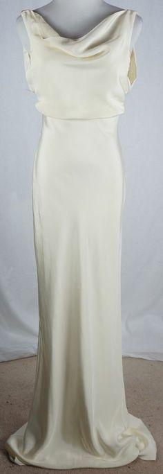 J Crew Gown Size 2 Anouk Silk Tricotine Drape Neck Wedding Dress #JCrew #Formal