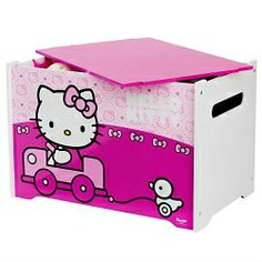 Hello Kitty Speelgoedkist  De Hello Kitty Speelgoedkist is ideaal voor het opbergen van speelgoed, dekens of andere spullen. Het sterke materiaal is vormgegeven met je favoriete prints van Hello Kitty. Leer kinderen zelfstandig opruimen op een voor hen aantrekkelijke manier!