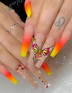 32 Stylish Acrylic Long Nails Design For Fall Nails--Coffin & Stiletto - Long nails design ideas, Fall long nails, acrylic coffin nails , acrylic stiletto nails design, sum - Bright Nail Designs, Long Nail Designs, Fall Nail Designs, Beautiful Nail Designs, Acrylic Nail Designs, Tropical Nail Designs, Nail Designs For Summer, Cute Nails, My Nails
