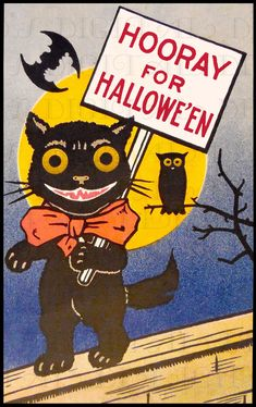 vintage Halloween black cat on fence, bats, owl, hooray! Retro Halloween, Halloween Prop, Halloween Fotos, Vintage Halloween Cards, Vintage Halloween Decorations, Halloween Prints, Halloween Items, Halloween Signs, Halloween Pictures
