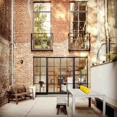 Rehab Diaries: An Artist's NYC Kitchen Renovation industrial french doors to bring light into the lower lever of a duplex city townhouse Remodelista Steel Windows, Steel Doors, Windows And Doors, Patio Interior, Interior Exterior, Interior Architecture, Exterior Doors, Casa Patio, Deco Design