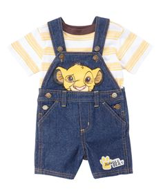 Loving this Blue Simba Overalls & Stripe Tee - Infant on #zulily! #zulilyfinds