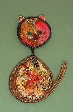 Polymer Clay & Colored Wire Cool Cat by auntgriz, via Flickr