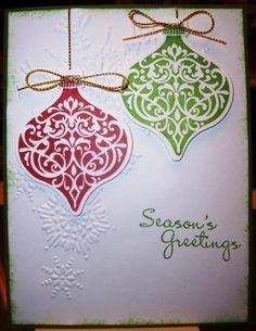 Green Ornament Keepsakes Seasons Greetings Card by lnelson74 - Cards and Paper Crafts at Splitcoaststampers