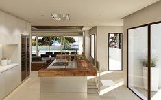 Sol de Mallorca - Villa Deluxe mit traumhaftem Panorama-Meerblick Villa, Modern, Kitchen Island, Table, Furniture, Home Decor, Fireplace Living Rooms, Ground Floor, Open Plan Kitchen
