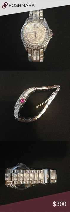 Juicy couture Swarovski watch Made from stainless steel covered with 847 Swarovski crystals. Features a 40mm case. Juicy Couture Accessories Watches