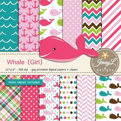 Whale Girl Digital papers and Clipart SET Anchor water wave