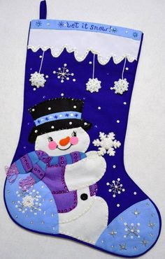"""The Games Factory 2 This wonderful hand~crafted Christmas Stocking called """"LET IT SNOW"""" is made of felt applique on cloth (NOT FELT) and beautifully decora Felt Christmas Stockings, Felt Stocking, Stocking Tree, Felt Christmas Ornaments, Noel Christmas, Christmas Costumes, Christmas Decorations, Felt Crafts, Holiday Crafts"""