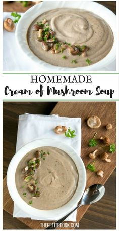 Homemade Cream of Mushroom Soup - You'll never go back to the canned stuff once you try this super easy version! Ready in just 20 min, vegetarian and with. Best Soup Recipes, Vegetarian Recipes Easy, Veggie Recipes, Cooking Recipes, Favorite Recipes, Healthy Recipes, Cheap Recipes, Healthy Meals, Healthy Food