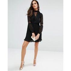 Vero Moda Lace Detail Skater Dress (€89) ❤ liked on Polyvore featuring dresses, skater dress, vero moda, vero moda dress and lace detail dress