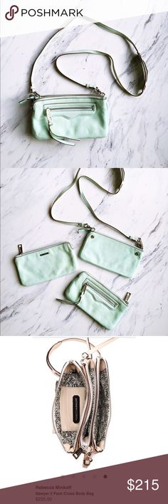 Rebecca Minkoff Sawyer 3 Pack Crossbody Bag Practically perfect condition! Mint color, 3 detachable pouches, can be used as a whole for a great multi pocket bag that can hold a lot, cam can be detached as a smaller crossbody, or completely separated for the perfect sized clutch. Really versatile purse! Retailed at Nordstrom for $245 and retails on Shopbop for $225 but is completely sold out! Rebecca Minkoff Bags Crossbody Bags