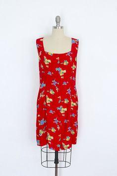 Vintage Floral Dress / Red Sundress / Atessa Brazil 1980s / from ThisBlueBird