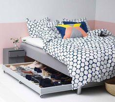 Dica de organização para sapatos – Otimização de espaços –  Gaveta com rodinhas embaixo da cama