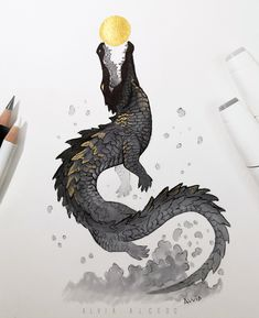 Animal Sketches, Animal Drawings, Art Sketches, Art Drawings, Creature Concept Art, Creature Design, Crocodile Illustration, Creature Drawings, Cute Art