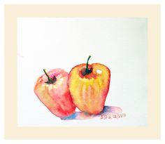 Free Shipping Twin cashew fruits Cashews Nuts Nut Art Fruit painting Watercolor…