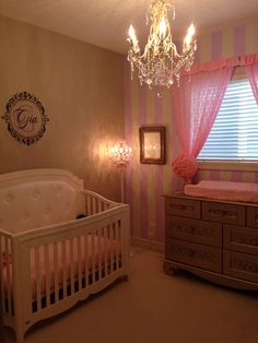 Baby girl's lilac, pink and gold nursery.