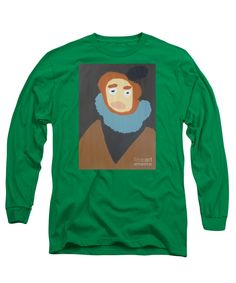 Patrick Francis Designer Long Sleeve Kelly Green T-Shirt featuring the painting Portrait Of Maria Anna - After Diego Velazquez by Patrick Francis