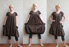 Eco friendly brown linen dress tunic by rubuartele on Etsy. #pintucks #pockets