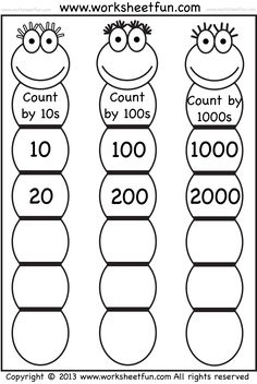 Skip Counting by 10, 100 and 1000 / FREE Printable Worksheets – Worksheetfun