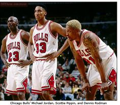 Chicago Bulls' Michael Jordan, Scottie Pippin, and Dennis Rodman