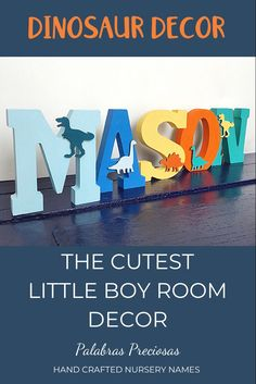 These brightly colored dinosaur wood letters are the cutest addition to your little boys room. Custom painted to complement your bedroom decor and his favorite colors #littleboy #boysroom #boybedroomdeor #babyboy #babyshower #dinosaur #giftsforkids #toddlerroom Boys Room Decor, Playroom Decor, Boy Room, Kids Bedroom, Bedroom Ideas, Bedroom Decor, Wood Name Sign, Name Letters, Wood Letters