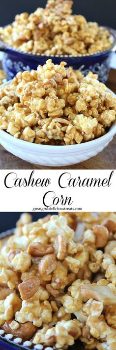 There are lots of goodies you can add to make this cashew caramel corn even more delicious! The sweet and salty flavor makes this such an addicting snack! So hard to resist! Popcorn Snacks, Flavored Popcorn, Gourmet Popcorn, Salty Snacks, Snacks Für Party, Popcorn Balls, Pop Popcorn, Party Appetizers, Toothpick Appetizers