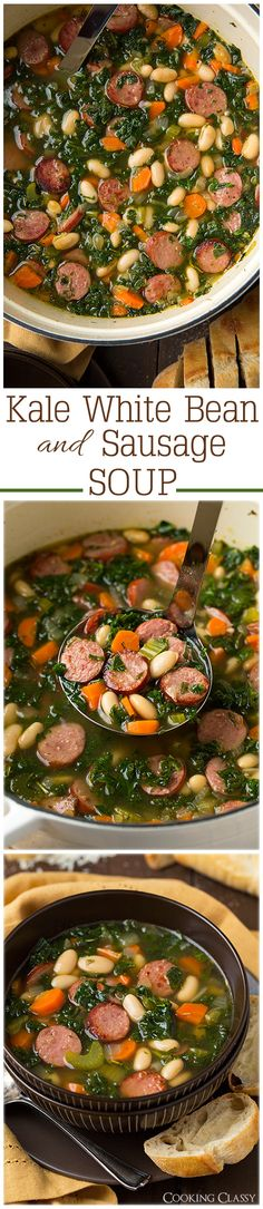 Kale White Bean and Sausage Soup - This soup was so easy and so delicious! Adding this one to the rotation. Chou Kale, Healthy Bean Soup Recipes, Cooked Kale Recipes, Chicken And Kale Recipes, Healthy Fall Soups, Easy Kale Recipes, Chicken Kale Soup, Kale Soup Recipes, White Bean Recipes