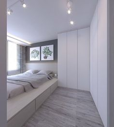 Small Bedroom Interior Design With Wardrobe Ideas Small Bedroom Interior, Small Room Bedroom, Trendy Bedroom, Home Decor Bedroom, Home Interior Design, Condo Bedroom, Platform Bedroom, Bed On Platform, Small Condo