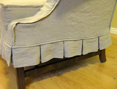 Custom Slipcovers by Shelley: Oatmeal linen loveseat with french welt