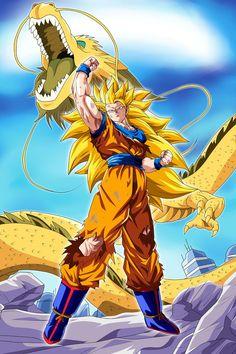 Dragon Ball Z Poster Goku Super SJ 3 w / dragon - Dragon Ball Z Poster Goku Super SJ 3 w / dragon - Kid Buu, Goku Wallpaper, Dragonball Wallpaper, Iphone Wallpaper, Super Anime, Ball Drawing, Susanoo, Dragon Ball Gt, Son Goku