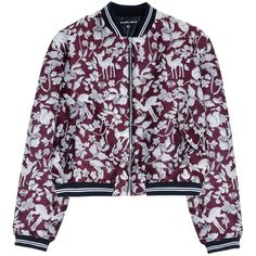 MARKUS LUPFER Woodland Bomber Jacket (20,325 PHP) ❤ liked on Polyvore featuring outerwear, jackets, coats, casacos, bomber jacket, floral jacket, red jacket, tailored jacket and zipper jacket