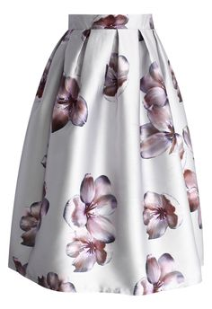 Peach Blossom Midi Skirt in Silver - Chicwish