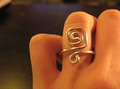 Wire Wrapped Adjustable Spiral Square Ring MADE to by 1ofAkinds, $5.00