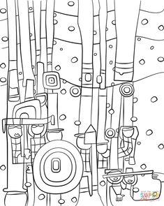 Ausmalbild: Blue Blues von Friedensreich Hundertwasser | Ausmalbilder kostenlos zum ausdrucken Friedensreich Hundertwasser, Art Lessons For Kids, Artists For Kids, Cubism Art, Art Worksheets, Colouring Pages, Mandala Coloring, Coloring Sheets, Adult Coloring