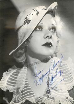 American actress and singer (1915-1998), very famous and active in films in the 1930s and 1940s, her career spanned from 1931 through 1998 including long interrruptions. Signed photo, 8 x 11 inches, i