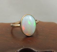 Ethiopian Opal 14k Gold Ring, Natural Opal, Handmade Engagement Ring, Opal Engagement Ring, Eco Friendly, Simple Opal Ring on Etsy, $495.00