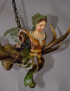 antique carved wood harpy lusterweibchen