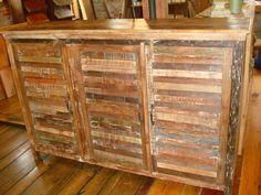 Boat Wood Wooden 3 Door Shutter Cabinet Buffet Sideboard Console Dresser Narrow! | eBay