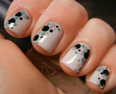 Gray with green gray and black dots
