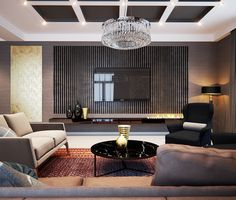 The dark colors in the room, including the ceiling panels, are masculine yet warm.