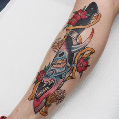 americka - electrictattoos: adrianhing: Knife and hanya. Japanese Tattoos For Men, Japanese Mask Tattoo, Cute Tattoos, Beautiful Tattoos, Tattoos For Guys, Tatoos, Traditional Tattoo Sketches, Neo Traditional Tattoo, Tattoo Artists Sydney