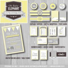 Oh Baby Elephant Baby Shower Bundle: Party Printables Kit- Invite- Baby Shower Games- Party Decorations - Yellow - Gender Neutral - Digital