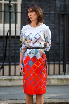 June The loving wife choked back her tears as she stood by her husband as he made his resignation speech outside Downing Street last month Samantha Cameron, Loving Wives, Roksanda, Classy And Fabulous, Work Fashion, June, Daughter, Husband, Dresses For Work